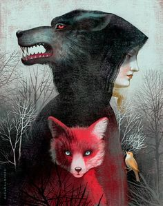 Creative Illustrations by Award Winning Twin Sisters Anna and Elena Balbusso Woman as wolf