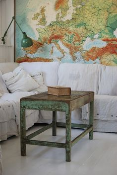 The colors in this large wall map match perfectly with the existing decor!