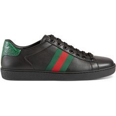 Gucci Ace Leather Low-Top Sneaker ( 545) ❤ liked on Polyvore featuring shoes d7c6b5ae5c4