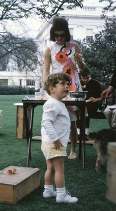 A casual moment with Jackie Kennedy and son, John jr.