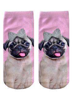 Pug With Bow Ankle Socks