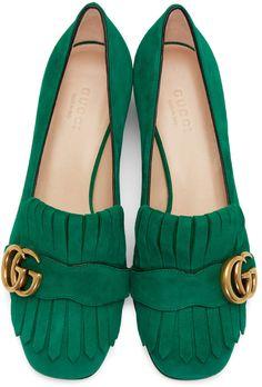 Gucci - Green Fringe Marmont Loafer