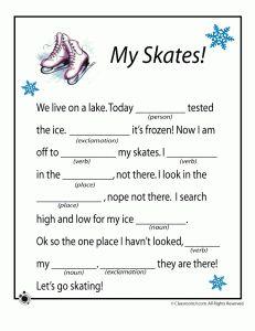 winter olympics math worksheets winter mad lib skates 231x300 winter mad libs winter activities