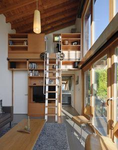 design hochbett holz konstruktion wohnzimmer