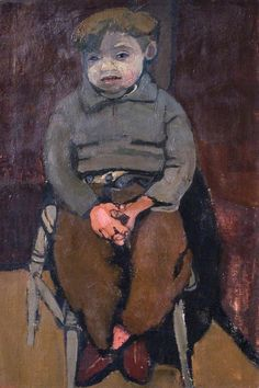 Joan Eardley (England 1921–1963 Scotland), Archie Lafferty, Aged 6, oil/canvas, 1953. Archie Lafferty was living in one of the Glasgow tenements when he sat for Eardley. He identified himself to the staff at the Herbert Art Gallery in 1988 during an exhibition of Joan Eardley's work. One of her most successful character studies. the figure is seen head on, his face half in shadow. His pose, with ankles crossed and hands clasped, gives an impression of contained nervous energy. Collection…