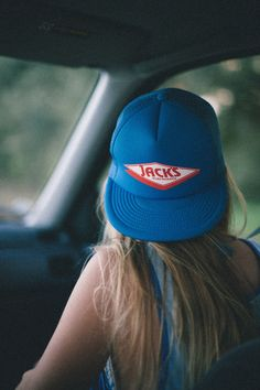this is our girl, trucker hat with long hair. she's just a girl that loves boys clothes! Cap #SS14 fringeandfrange.com