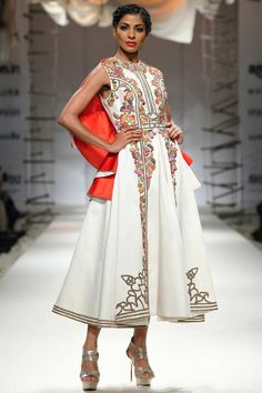 Ivory and orange embroidered cape style dress available only at Pernia's Pop Up Shop.#samantchauhan #newcollection #straightofftherunway #aifwss16 #festive #clothing #designer #shopnow