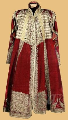 Costume of a dignitary. From the Balkans (Epirus? Late-Ottoman, end of century. Appliqués and embroidery of silver-gilt thread on red velvet. Folk Costume, Costumes, Vintage Dresses, Vintage Outfits, Empire Ottoman, Medieval Fashion, Russian Fashion, Haute Couture Fashion, Fashion Plates