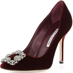 Manolo Blahnik 'Hangisi' Crystal-Buckle Velvet 105mm Pumps
