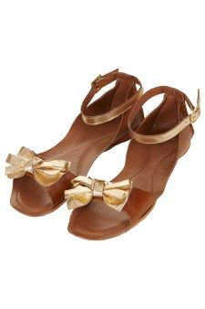 HALO Metallic Bow Sandals | Topshop