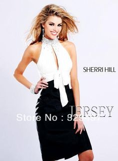 Free Shipping New Arrival Elegant White Black Cocktail Dress Homecoming Sheath Beaded Halter short backless Knee Length Satin-in Cocktail Dr...