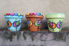 Painted Clay Pots, Painted Flower Pots, Ceramic Pots, Terracotta Pots, Clay Pot Crafts, Crafts To Do, Decorated Flower Pots, Cement Pots, Decoupage Vintage