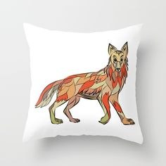 Coyote Side Isolated Drawing Throw Pillow. Drawing sketch style illustration of a coyote wild dog viewed from the side facing front set on isolated white background. Drawingillustration #Coyote