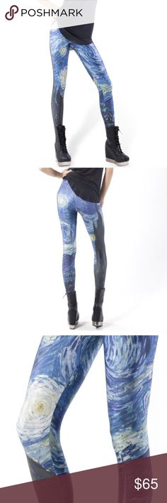 BlackMilk Clothing Starry Night Leggings Black Milk Clothing Starry Night Leggings. Worn a few time but in near new condition. The leggings appear much darker in person, however when photographed with a flash the design is much more prominent, like the website photographs display. Size small. Blackmilk Pants Leggings