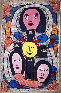 """ORIGINAL PAINTING HAITIAN ART PROSPERE PIERRE LOUIS PRIMITIVISM FOLKART 20"""" X 30"""