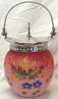 Antique-Pink-Peachblow-Enameled-Art-Glass-Cracker-Biscuit-Jar-Silver-Lid-Handle