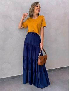 60 trendy summer outfits you will love 46 ~ Litledress Blue Skirt Outfits, Dress Outfits, Trendy Summer Outfits, Casual Outfits, Casual Goth, Modest Fashion, Fashion Dresses, Apostolic Fashion, 40s Fashion