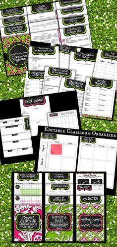 This is the pink and green theme of my editable classroom organizer!  Get organized for the new school year now! :)