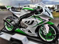 Wicked Wheels Wednesday! How about this BMW S1000RR in white & green? #WickedWheels #GetGeared