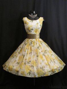RESERVED Vintage 1950's 50s Lemon Yellow Chiffon by VintageVortex