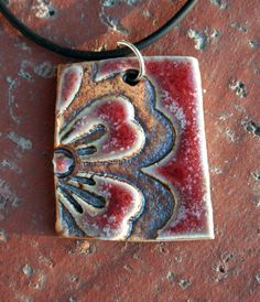 Bold Flower with Red Porcelain Pendant 1