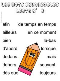 Quand t'es maicresse, tu cherches des listes de mots invariables French Worksheets, Aide, Language, Education, Children, Plural Of Nouns, Cue Cards, Vocabulary Words, Young Children