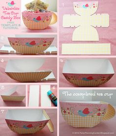 Photo tutorial and free printable template for making a valentine tea cup candy box