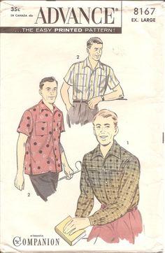 1950s Mens Shirt  Advance 8167 Vintage Pattern  by ErikawithaK