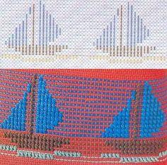 Patrones Punto de Cruz: punto yugoslavo #freehuckembroidery Swedish Weaving Patterns, Monks Cloth, Chicken Scratch, Cross Patterns, Darning, Plastic Canvas, Perler Beads, Cross Stitch, Flag