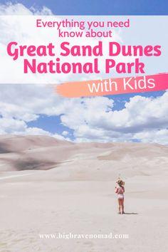 What to do in Great Sand Dunes National Park with Kids — Big Brave Nomad Colorado National Parks, Us National Parks, Family Adventure, Adventure Travel, Travel With Kids, Family Travel, Visit Yellowstone, Destinations, Badlands National Park