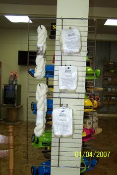 Cave City Welcome Center Racks to hang yarn, made from old oven racks.