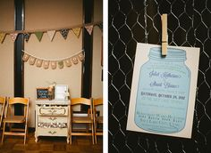 Mason jar invitations, to-go s'more favors, thank you bunting banner, photo by Meg Ruth Wedding Silverware, Mason Jar Invitations, Salt Lake Temple, Utah Wedding Photographers, Bunting Banner, Chicken Wire, Baby Sister, Wedding Details, New Baby Products