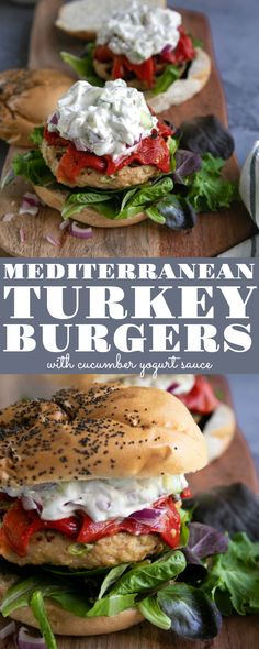 Mediterranean Grilled Turkey Burgers are an easy and delicious ground turkey recipe loved by the whole family. Topped with roasted red peppers, fresh greens, and a refreshing cucumber yogurt sauce, these Mediterranean Turkey Burgers are guaranteed to be a Grilled Turkey Burgers, Turkey Burger Recipes, Beef Burgers, Healthy Turkey Burgers, Ground Turkey Meals, Easy Ground Turkey Recipes, Ground Turkey Burgers, Hamburger Recipes, Veggie Burgers