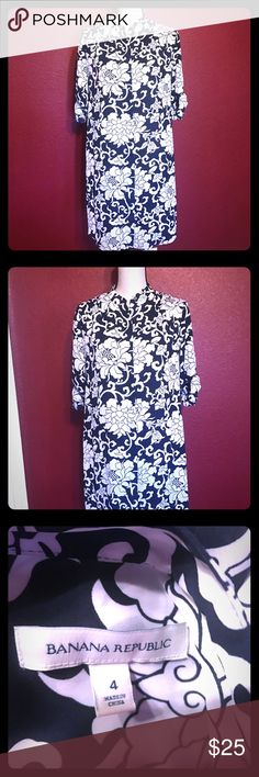 52c0c5fddf698 Banana republic dress navy Banana republic shirt dress. Navy and white.  Excellent gently worn