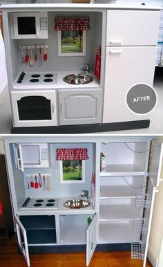 window, microwave, black oven, baskets in fridge