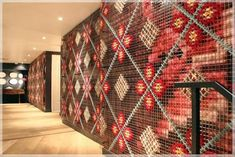 Cross-Stitch Installation at Patria Restaurant – Design*Sponge Embroidery Art, Cross Stitch Embroidery, Cross Stitching, Ideas Cabaña, Broderie Bargello, City Wallpaper, Custom Wallpaper, Contemporary Embroidery, Wall Installation