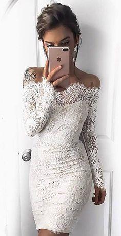 2017 Elegant Lace Off-the-Shoulder Sheath Long Sleeves Homecoming Dresses_White Short Formal Dresses