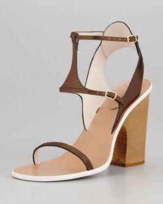 CHLOE   Metallic Leather Ankle-Wrap Sandal