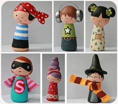 Adorable peg dolls. Use fimo for the additions. Or clay and paint. Awesome.