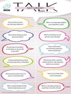 Saturday Talk, Conversation Starters