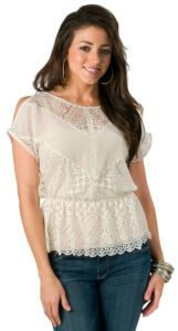 Flying Tomato Cream Open Shoulder with Lace Short Sleeve Top $34.00/ a MUST have