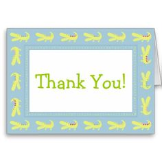 Green & Blue Baby Mod Alligator Thank You Cards