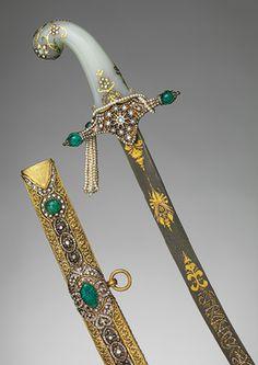 Saber, 19th century; Ottoman period  Turkish  Steel, gold, diamonds, emeralds, pearls