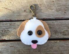 wool felt emoji dog christmas ornament plush toy rear view mirrow decoration keychain