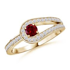 Solitaire Round Garnet and White Sapphire Infinity Love Knot Ring in 14K Yellow Gold from Angara!