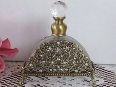 ANTIQUE STYLE GLASS PEWTER CRYST.PERFUME BOTTLE-FG0008
