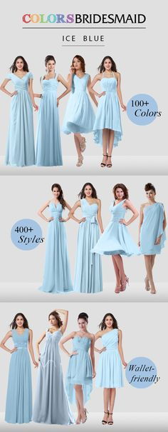 Ice blue bridesmaid dresses are all made to order to flatter your figure! Affordable prices never break your bank.