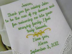 Wedding Handkerchief Gift Personalized Wedding Keepsake