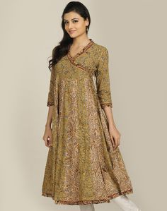 Cotton Kalamkari Anghrakha #Anarkali Long Kurta US $65.88 @ http://www.FabIndia.com/intl/new-arrivals.html