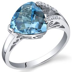 Swiss Blue Topaz Ring Sterling Silver Trillion Checkerboard Cut 2.50 Carats Sizes 5 to 9 *** Quickly view this special  product, click the image : Jewelry Rings